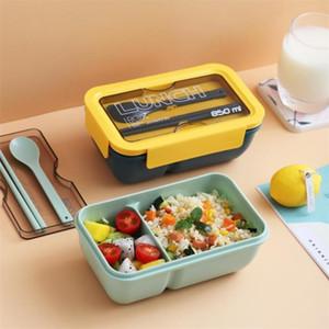 Vieruodis Caja de almuerzo de plástico portátil con cuchara Compartimento de estilo japonés Bento Box Cocina Microondas Contenedor de alimentos a prueba de fugas 201123