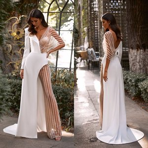 Sexy Women Wedding Jumpsuit With Overskirt V Neck Beading Long Sleeve Beach Wedding Dress Illusion Customize Vestidos De Novia
