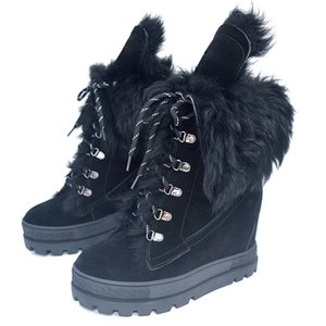 Winter Warm Black Suede Wool Fur Women Lace Up Casual Shoes Thick Sole Ladies Increased Heel Shoes Fur Snow BottinesZ1126