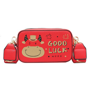 Kids Cartoon Handbags Children New Year of The Ox Auspicious Red Mini Messenger Bags Girls Cow Letter Printed Single Shoulder Bags C6562