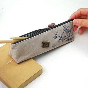 100pcs coreano clássico lápis lona estudante lona cosméticos sacos de maquiagem sacos retro Aprender papelaria