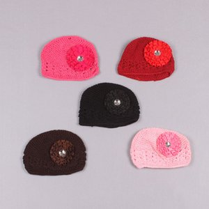 Clearance sale 11pcs lot Infant Kufi Hats with rosette flowers,Crochet Baby Bennies Baby Knitted Hats Z163