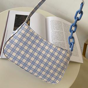 Mode Kette Retro Design Frauen Umhängetasche Vintage Plaid Muster Damen Kleine Tasche Achseltasche Mädchen Daily Baguette Handtaschen ACPF