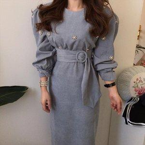 New 2020 Spring Elegant Fashion Women Dress O neck Beading Puff Sleeve High Waist Sashes Solid Long Dress Female Vestidos