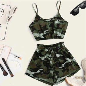 2PCS Summer Fashion Tracksuit For Women Ladies Hot Sale Suit Camouflage Print Camisole Vest Drawstring Waist Shorts Sport Set