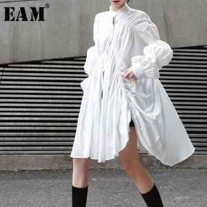 [EAM] 2020 New Spring Autumn Stand Collar Long Sleeve White Pleated Stitch Irregular Big Size Shirt Women Blouse Fashion JO478 Y1112