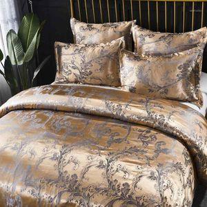 Постельные принадлежности роскошный жаккардовый набор King Queen размер 2/3 постельное белье шелковое одеяло покрытие наволочки1