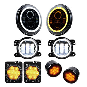 "for Jeep JK Wrangler Accessories 7"" Halo Headlight Angel Eyes 4Inch Fog Lamps Led Amber Side Maker Turn Signal Lights Combo"