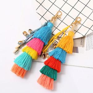 Boho colorido borla keychain novo estilo saco ornamentos artificiais artificiais creativo chaveiros fofo atraente pingente jóias presentes 286 n2