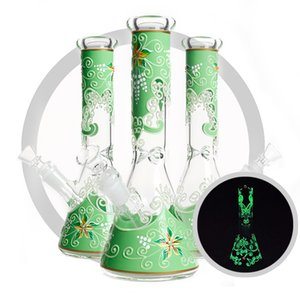 High quality beaker glass bong glow in the dark water bongs 3D flower design 10 inch glass smoking water pipe hookah bong