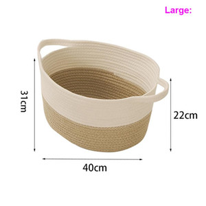 Small Woven Basket Cute Gray Rope Cotton Room Storage Basket Cat Empty Gift Basket With Handles Storage Boxes Bins L S M HH21-49