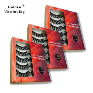 5 Pairs 3D Mink Lashes Natural False Eyelashes Vendor Fake Lashes Makeup Eyelash Extension Silk Golden Unwinding