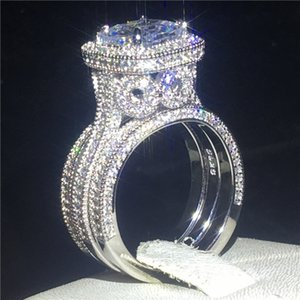 Vintage 3-in-1 Diamond cz Ring sets 925 sterling silver Jewelry Promise Engagement Wedding band Rings for Women men Party Bijou Z1202