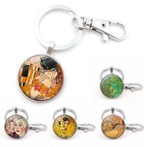 Gustav Klimt Kiss Killchain Мать и искусство Стеклянный подвесной автомобиль ключ держатель для унисекс в день матери