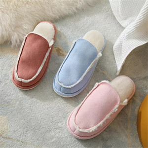 FAYUEKEY Woman Home Slippers Winter Warm Shoes With Fur Flat Casual men Shoe Footwear Non-slip couple lover Slipper Comfortable J1205