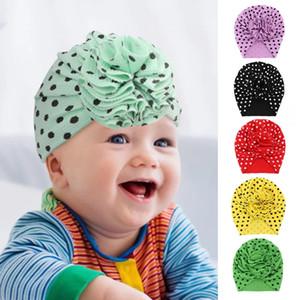 Dots Turban Hats for Girls Bloom Flower Baby Hats Kids Elastic Baby Turban Hats for Girls Headwrap Infant Headband Beanie Cap