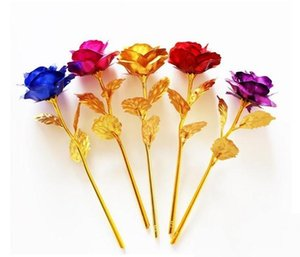 Romantic 24K Plating Golden Rose Flower Gold Foil Plated Artificial Wedding Festive Party Valentine Day Gift