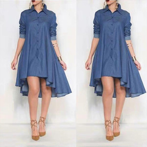 Fashion Blue Summer Women Dress Long Sleeve Denim Shirt Dress Casual Turn down Collar Women Dresses Ruffle Loose Party Clothes