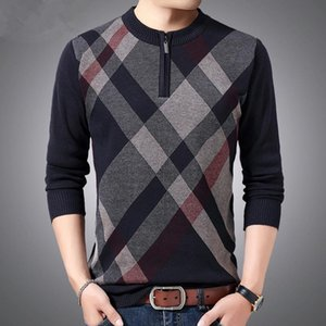 2020 nouveaux créateurs de mode streetwear hommes rayé Maille Pull Automne Hiver Pull Hommes Slim Fit O Col Pull Homme