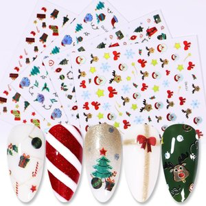 Merry Christmas Nail Art Decals Decoration Self Adhesive 3D Nail Art Stickers Design White Snow Sticker for Design