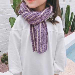 Size 95*17cm Small Eight Character Wrinkled Autumn Winter Girls Scarf New Baby Bubble Towel Soft Comfortable Warm