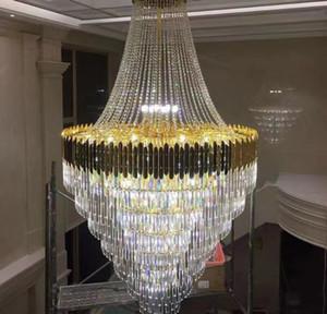 Grand lustre en cristal en duplex bâtiment de luxe Hôtel de luxe Engineering Villa Salon Hollow Chandelierfroite Livraison gratuite
