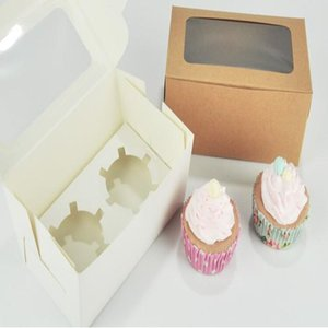 Tarjeta Kraft Papel Cupcake Box 2 tazas de pasteles Muffin Cake Cajas Postre Paquete Paquete Caja Bandeja Regalo Favor DWC3943
