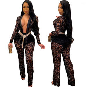 Lace Panelled Perspective Sexy Women Set Fashion Casual Slim Jumpsuit New Spring Womens Designer 2pcs Pants