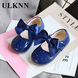 Ulknn Bebek Kız Sevimli Yay Çok Amaçlı Ayakkabı Yeni Kore Versiyonu Prenses Ayakkabı tarzı Deri Dans Ayakkabıları 201130