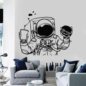 Spaceman Wall Decal Cosmonaut Space Burger Drink Fast Food Vinyl Window Stickers Kids Boys Bedroom Nursery Creative Mural