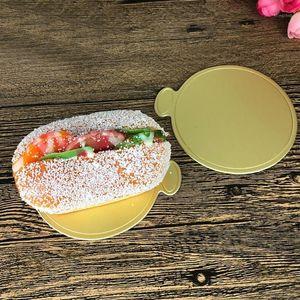 100 teile / satz Runde Mousse Cake Boards Gold Paper Cupcake Dessert Displays Tablett Hochzeit Geburtstagstorte Geburtsteig Dekorative Werkzeuge Kit1
