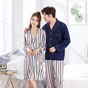 Пара 2 шт. Pajamas костюм осень полосатый ночной мужской мужчины повседневная рубашка дома носить женщин халат установить M-3XL искусственный шелк