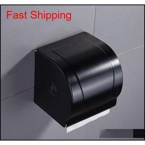 Black Paper Tissue Box Bathroom Paper Roll Holder Wall Mounted Toilet Paper Holder Rack Bathroom Accessories qylLLK bdesports