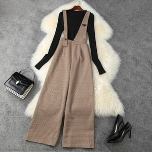 2020 Fall Autumn Long Sleeve Round Neck Black   Gray Knitted Top + Overalls Suspender Trousers Pants Two Piece 2 Pieces Set LAG2511216