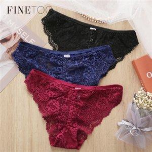 Bragas de lencería de panty floral para las mujeres calzoncillos de la ropa interior encaje sexy L-2XL FINETOO FINETOO BREVES 2020 WEAVE NDUUU