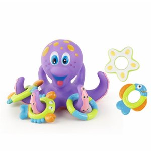 Baby Bath Toys Play Water OctopusToys Funny Floating Ring Toss Game Educational Bathtub Bath Toy for Kids Girl Boy Children Gift 201216