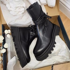 NEW Leather Ankle Boots For Women Motorcycle Black Boots Women Platform Thick Heel Winter Shoes Booties Zapatos Mujer #TI1m