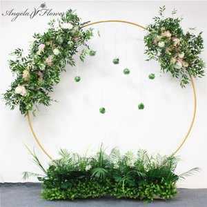 HI-Q handmade party event wedding backdrop iron arch decor artificial flowers pink with green leaf road lead flower row runner