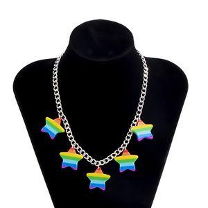 6pcs Lot European Colorful Star Pendant Necklaces Single Simple Acrylic Iron Clavicle Chain Women Hip Hop Fashion Chokers Jewelry Wholesale