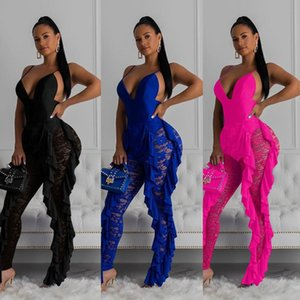 Womens Jumpsuit Female Sexy Bodycon Jumpsuit Solid V-Neck Sleeveless One Shoulder Long Sleeve Trousers Leisure Suit