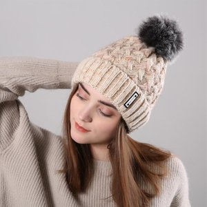 Double Layer Knitted Wool Faux Raccoon Fur Pompom Hats Female Winter Braid Ladies Cap Headgear For Women Skullies Beanies
