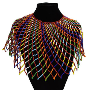 Ethnic Boho Multilayer Exaggeration Bib Necklaces Wide Choker Necklaces & Pendants Women Statement Maxi Party African Jewelry F1204