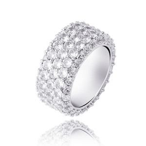 Hip Hop Rings Luxury Bling Zircon Rings Jewelry Fashion Gold Silver Color Circle Couple Rings For Men Women