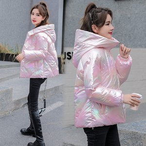 Women Winter Jacket Coats Hooded Tie dye Shiny Fabric Parkas Thick Warm Down Cotton jackets Zipper Padded Pocket Cold Outwear 201202