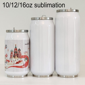 Sea Shipping 10 12 16oz Cola Can Sublimation Insulated Water Bottle Diy Heat Transfer Printing Double Wall Cola Shape Thermos