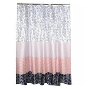 Moderna cortina de ducha geométrica Tela de poliéster impermeable cortina de baño para baño Decorar con ganchos de plástico GWB4872