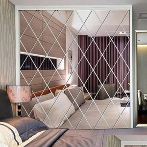 Diamond Pattern Mirror Wall Sticker Diy Living Room Decor 3d Mirror Wall Stickers Home Decoration Crafts Diy Ac jllaqu eatout