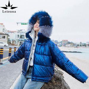 Leiouna Thick Solid Casual 2020 Fashion Women Glossy Short Jackets Fur Collar Hooded Coat Parka Jacket Warm Women Winter Jackets