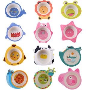 Cartoon Bamboo Fiber Baby Feeding Bowl Kids Baby Food Storas 8 Styles LJ201110