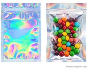 100 Pieces Resealable Smell Proof Bags Foil Pouch Bag Flat laser color Packaging Bag for Party Favor Food Storage Holographic Color in stor